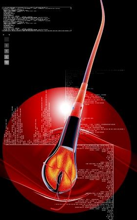 Digital illustration of Human hair structure anatomy in colour background    Standard-Bild