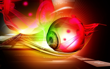 Digital illustration of  eye   in  colour  background   Stock Photo