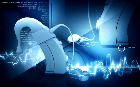 Digital illustration of  Cochlear implant in  colour  background Standard-Bild