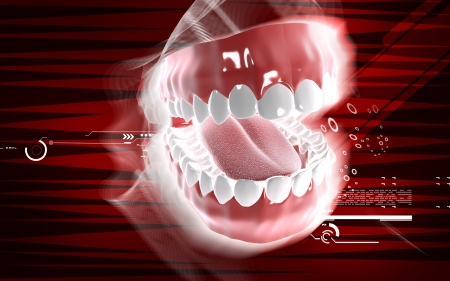 Digital illustration of teeth in colour  background