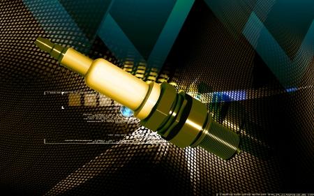 Digital illustration of Spark plug in colour background Stock Illustration - 16964162