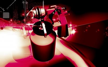 paint spray gun: Digital illustration of nozzle spray gun in colour background  Stock Photo