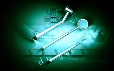 Digital illustration dental equipment in colour background Stock Illustration - 17021041