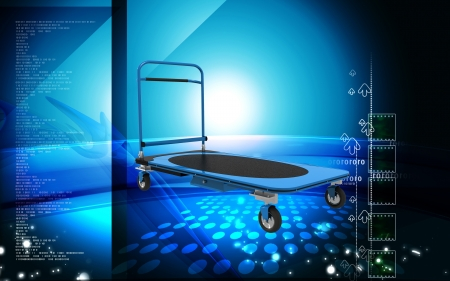 Digital illustration of Platform trolley in colour background  illustration