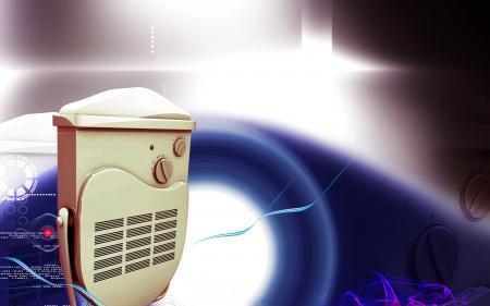 Digital illustration of bathroom fan heater in colour background  illustration