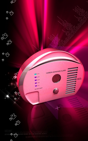 Digital illustration of Carbon monoxide alarm in colour background