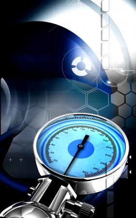 Digital illustration of sphygmomanometer in colour background  Stock Illustration - 17104425