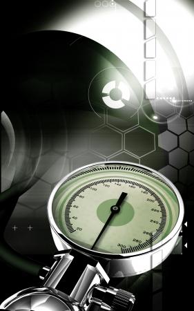 Digital illustration of sphygmomanometer in colour background Stock Illustration - 17104415
