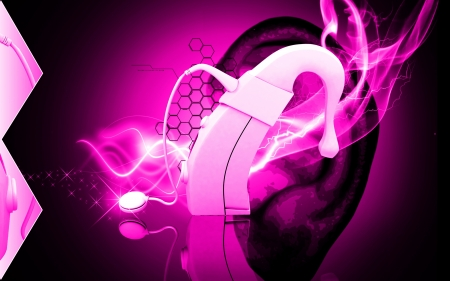 Digital illustration of  cochlear implant in colour background