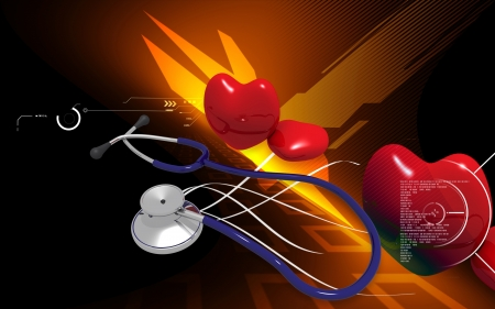 Digital illustration  of stethoscope and heart in colour background  illustration