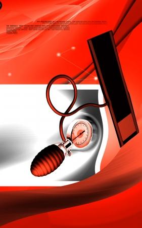 Digital illustration of sphygmomanometer in colour background Stock Illustration - 17338590