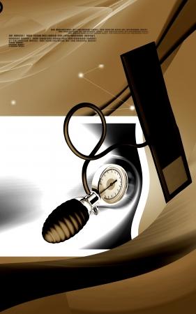 Digital illustration of sphygmomanometer in colour background Stock Illustration - 17338589