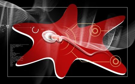 Digital illustration of  sperm  in colour  background Stock Illustration - 17433147
