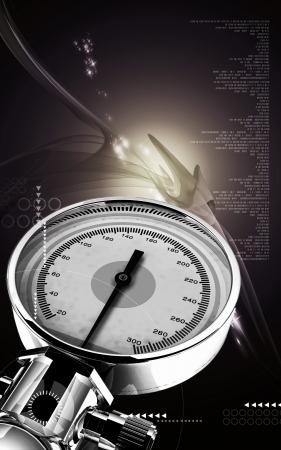 Digital illustration of sphygmomanometer in colour background  Stock Illustration - 17511390