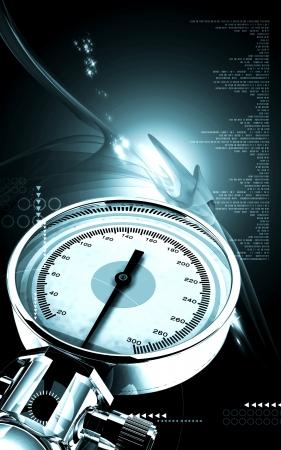 Digital illustration of sphygmomanometer in colour background Stock Illustration - 17511398