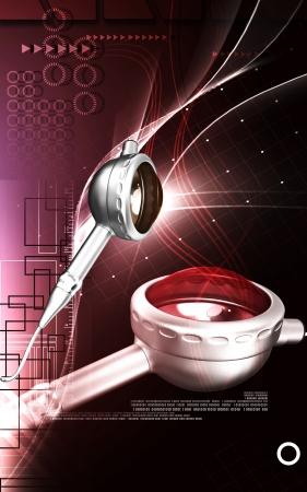periodontics: Digital illustration of Micro motor dental polisher   in colour background