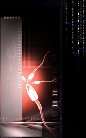 Digital illustration of  sperm  in colour  background   illustration
