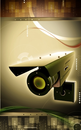 Digital illustration of security camera in colour background  illustration