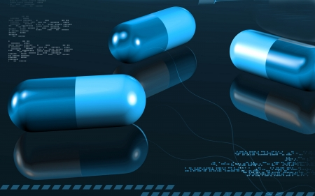 Digital illustration of capsules in colour background   illustration