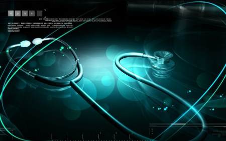 Digital illustration of Stethoscope in colour background