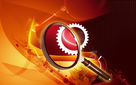 Digital illustration of a magnifying glass in colour background Stock Illustration - 18211167