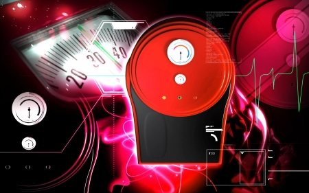 Digital illustration of weigh machine  in colour background Stock Illustration - 18211192