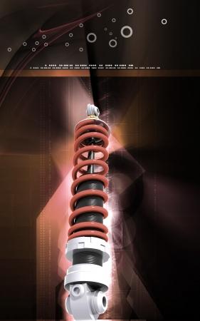 Digital illustration of Shock absorber in colour background Stock Illustration - 18211622