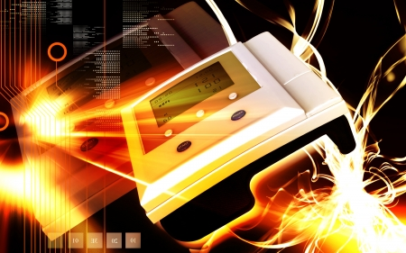 Digital illustration of  blood pressure monitor in colour  background Stock Illustration - 18213122