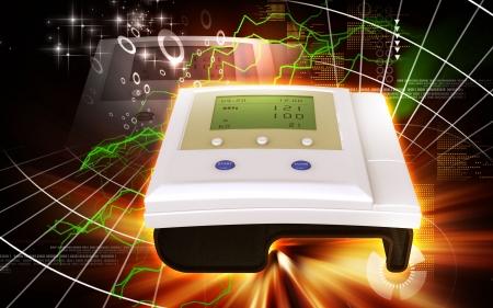 Digital illustration of  blood pressure monitor in colour  background Stock Illustration - 18380497