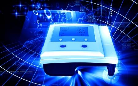 Digital illustration of  blood pressure monitor in colour  background Stock Illustration - 18380499