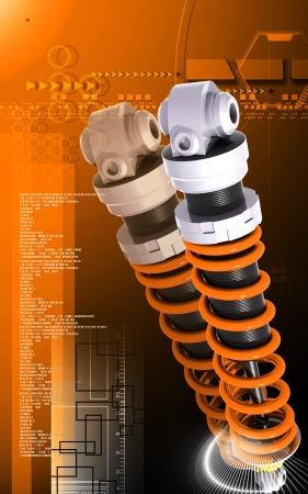 Digital illustration of Shock absorber in colour background Stock Illustration - 18380573