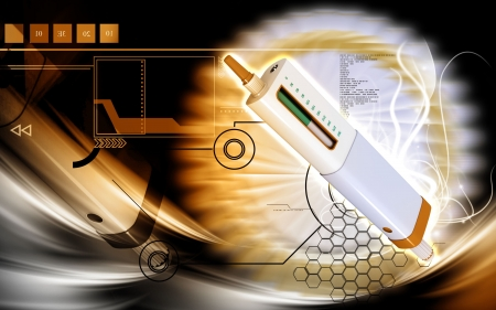 antidote: Digital illustration of insulin pen in colour background