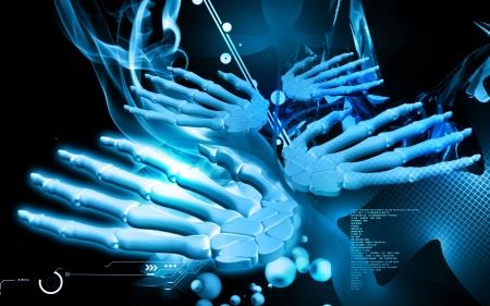 Digital illustration of hand bone in colour background Stock Illustration - 18404060