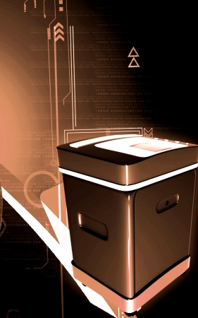 rectángulo: Ilustraci�n digital de una trituradora de tarjeta en el fondo de color