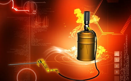 operated: Digital illustration of air grease pump in colour background