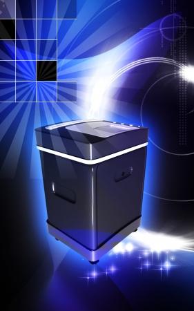 rectangulo: Ilustraci�n digital de una trituradora de tarjeta en el fondo de color