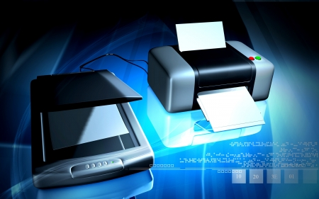 Digital illustration of Scanner and printer  in colour background  Stock Photo