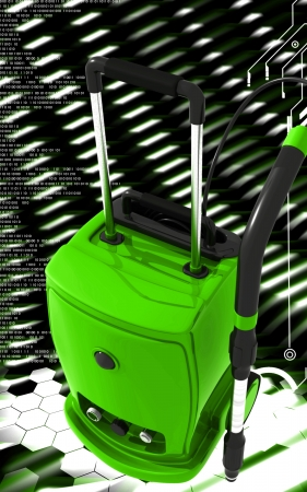 electric broom: Digital illustration of vacuum cleaner  in colour background  Stock Photo