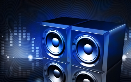 Digital illustration of  a loud speaker set in colour background  Stock Photo