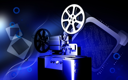 Digital illustration of a vintage projector in colour background  illustration