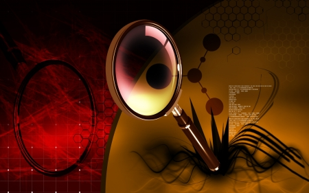 Digital illustration of a magnifying glass in colour background  illustration