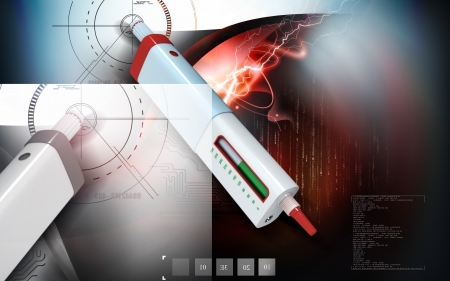 Digital illustration of insulin pen in colour background