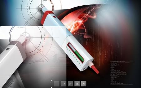 Digital illustration of insulin pen in colour background   illustration