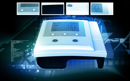 Digital illustration of  blood pressure monitor in colour  background  Stock Illustration - 18871363