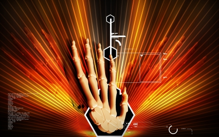 Digital illustration of hand bone in colour background  illustration
