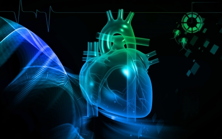 three dimensional background: Digital illustration of  heart  in  colour  background