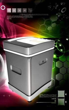 rectangulo: Ilustraci?n digital de un triturador de tarjeta en fondo de color