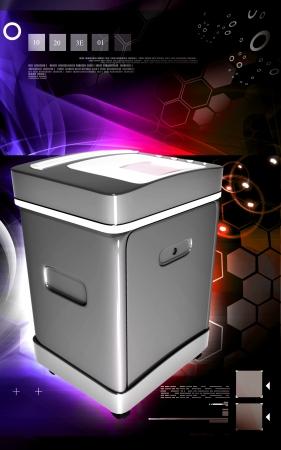 rectangulo: Ilustraci?igital de un triturador de tarjeta en fondo de color