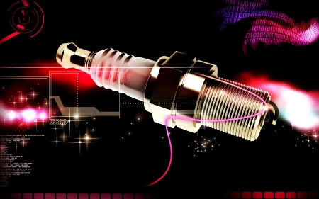 combustion: Digital illustration of Spark plug in colour background