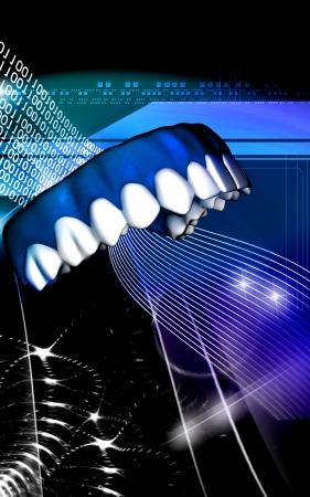 Digital illustration of teeth   in colour  background Stock Illustration - 19163902